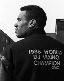 Black and white image of DJ Cash Money after winning the 1988 World DJ Mixing Championships