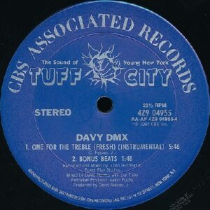 "Davy DMX - One For The Treble original 12"" side B label, instrumental track"