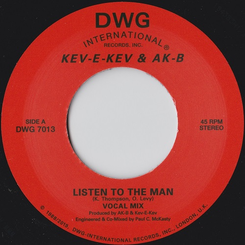"Kev E Kev & AKB 7"" repress single side A label - Listen to the man"