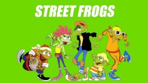 The image shows the opening sequence to the Street Frogs animation series