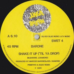 Image of Barone 'Shake it up' UK release label.